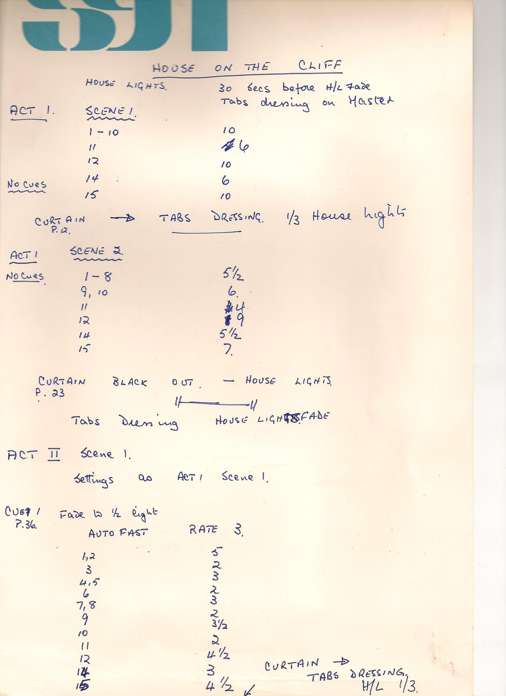 SM's cue sheet 1