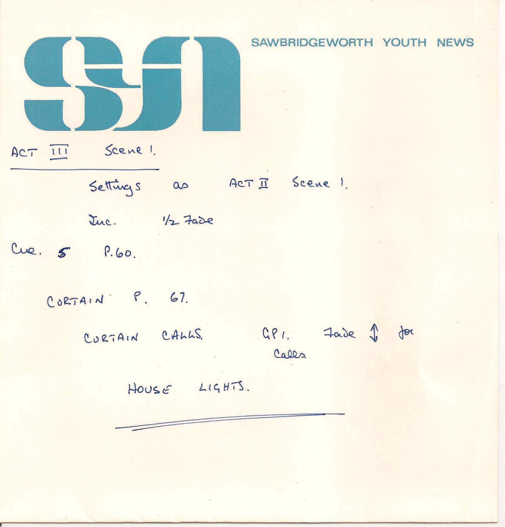 SM's cue sheet 3