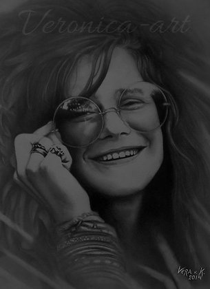 JANIS JOPLIN (DRY BRUSH PORTRAIT)