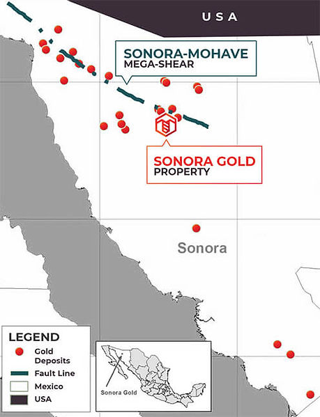 Map of Sanora-Mohave Fault Line