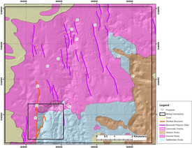 Geological map of the Sonora Gold claims
