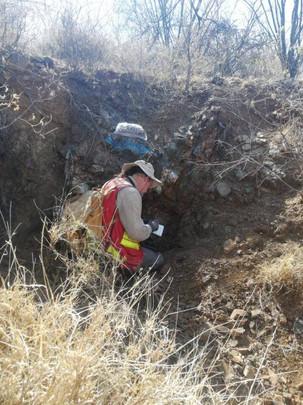 Geologist preparing field notes