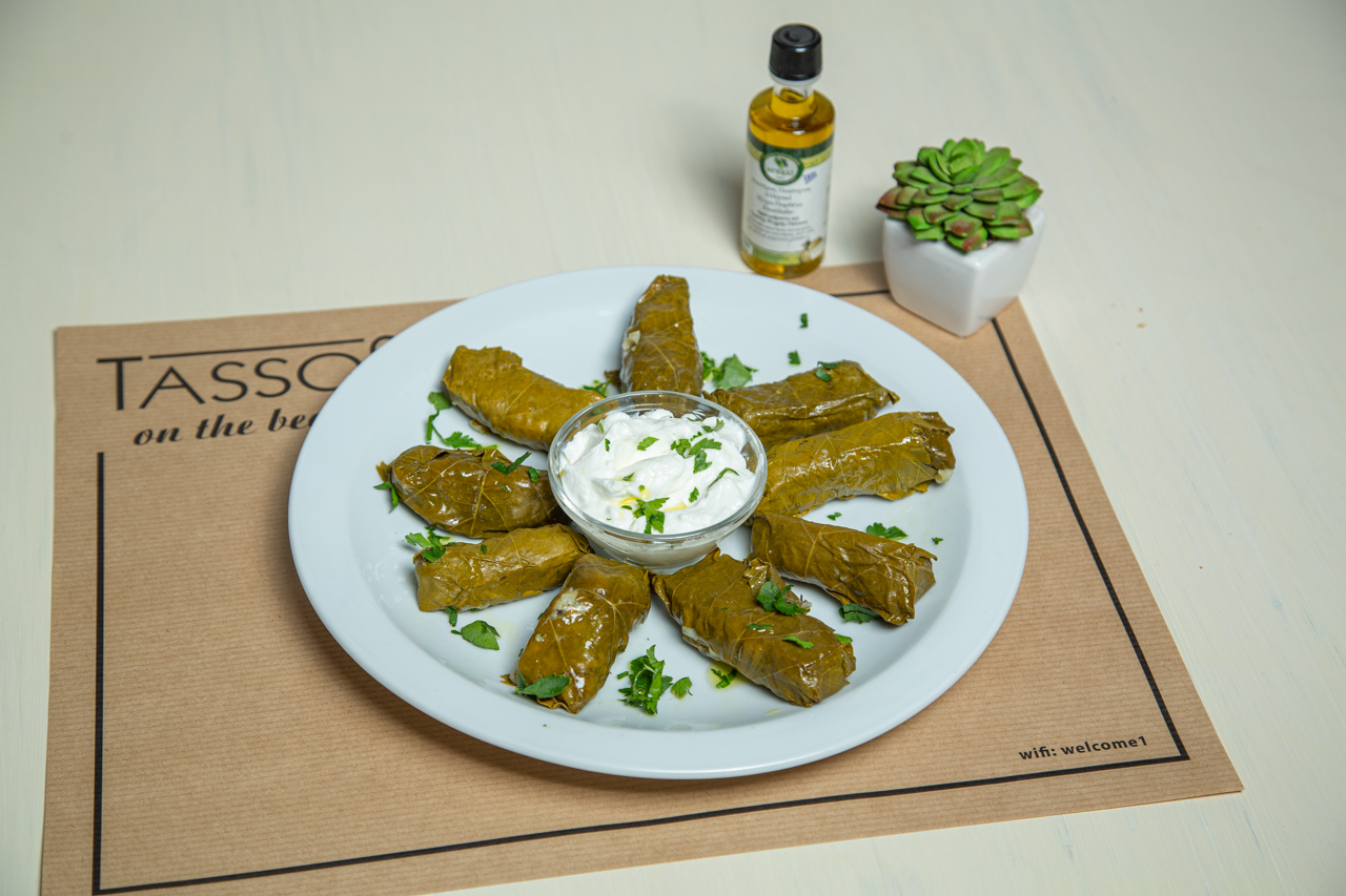 Stuffed vine leaves with yogurt cause