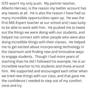The eTwinz are well-known for helping colleagues and teachers around the world. This is an example from Courtney Geisler (Alberto's former partner). She wrote this in her blog: http://adminadventures.edublogs.org/