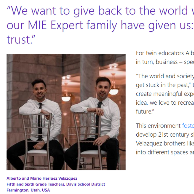 The eTwinz were interviewed by Anthony Salcito (Microsoft VP)