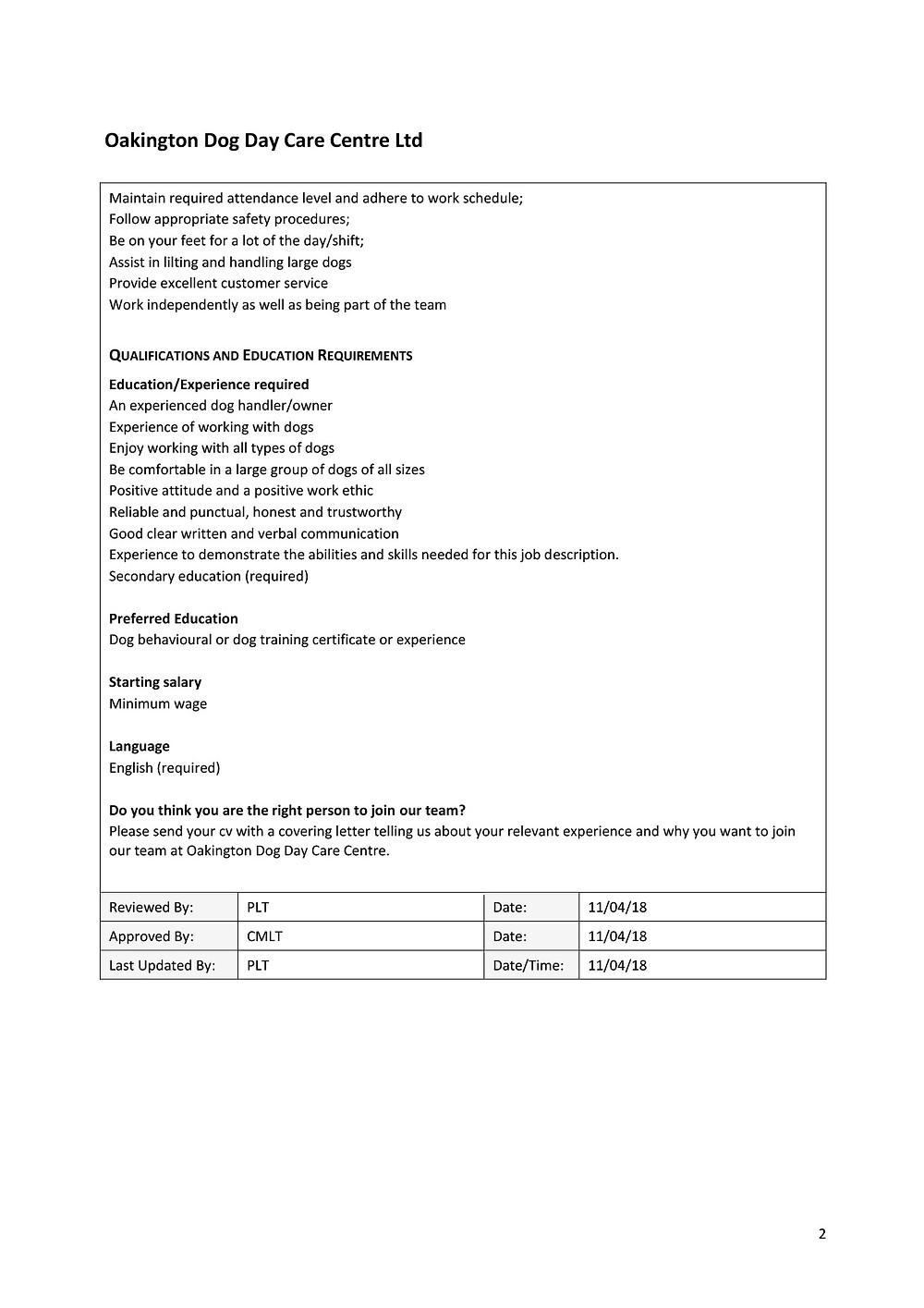Dog Day Care Assistant Job Description_p2