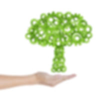 hand hold green tree of industrial gear,
