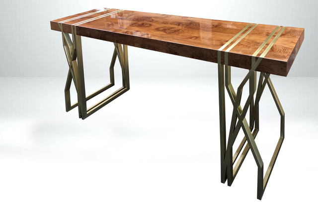 wood console with brass base.jpeg
