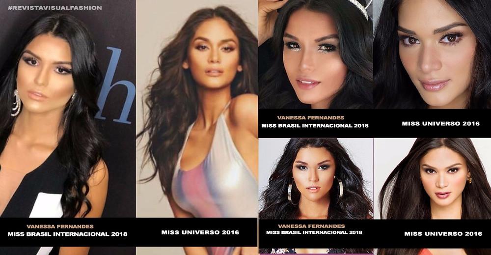 Pia Wurtzbach Miss Universe semelhança com Vanessa Fernandes Miss Brasil Internacional 2018