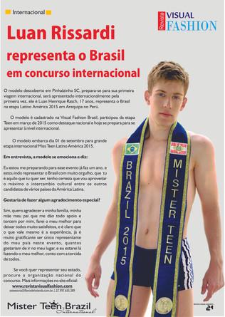 Modelo de Santa Catarina representa Brasil em evento Internacional na America Latina.