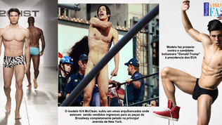 """Modelo fica pelado na """"Times Square"""" em Nova York."""