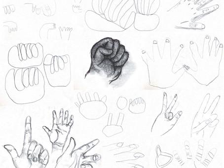 自分の手。