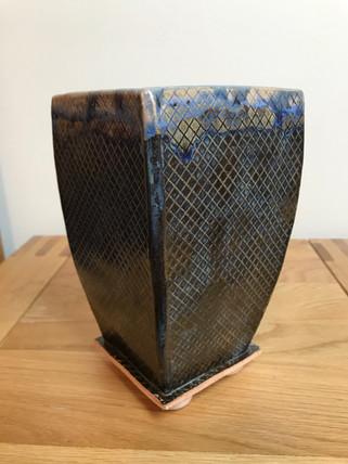 Slab-built wide-top vase