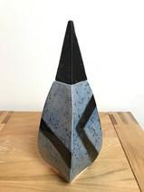 Slab-built square-curved vase