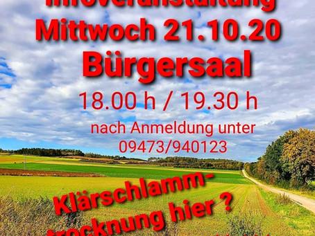 Infoveranstaltung zur Klärschlammtrocknung am 21. Oktober 2020