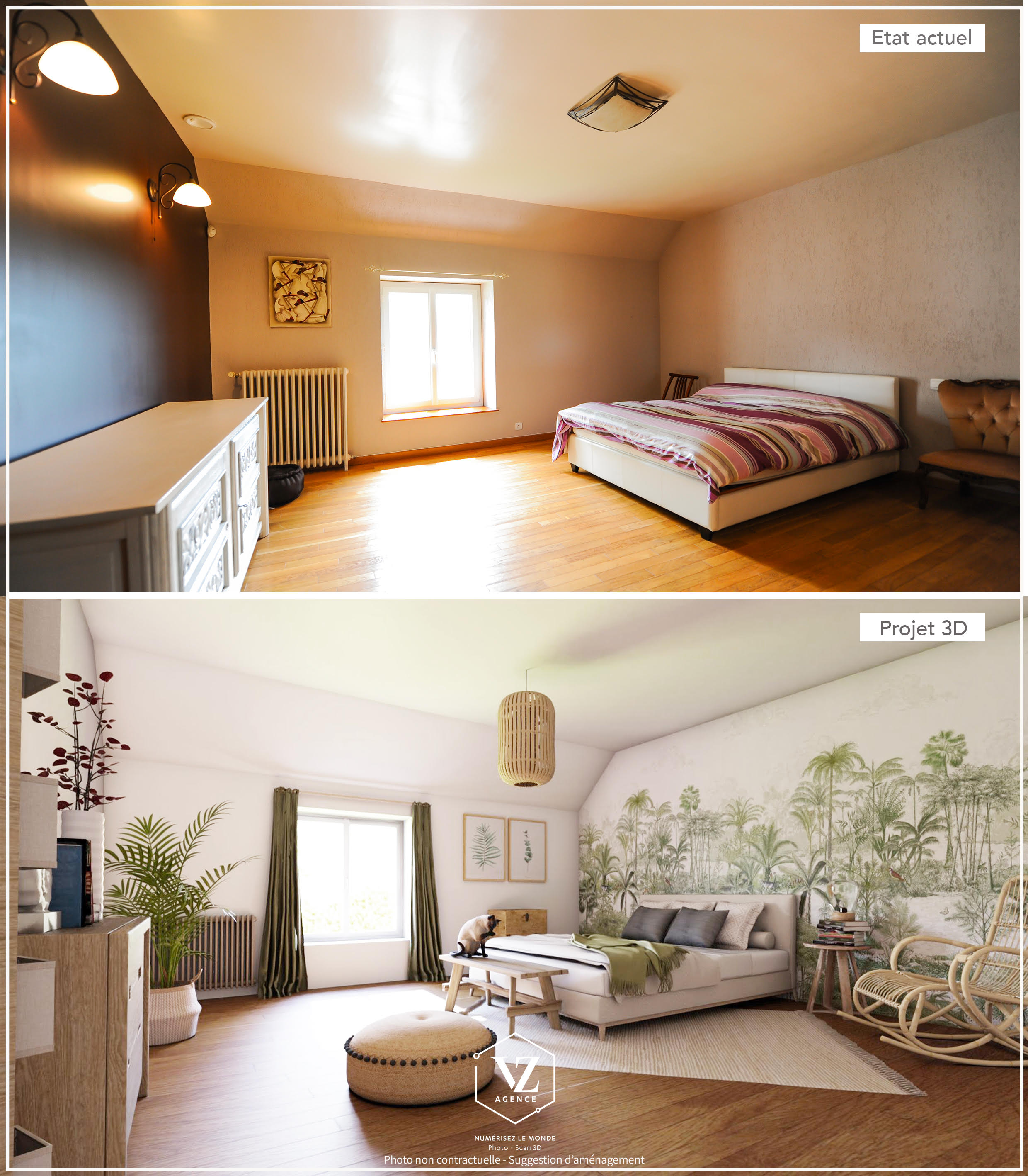 Amenagement 3D sur photo home staging virtuel
