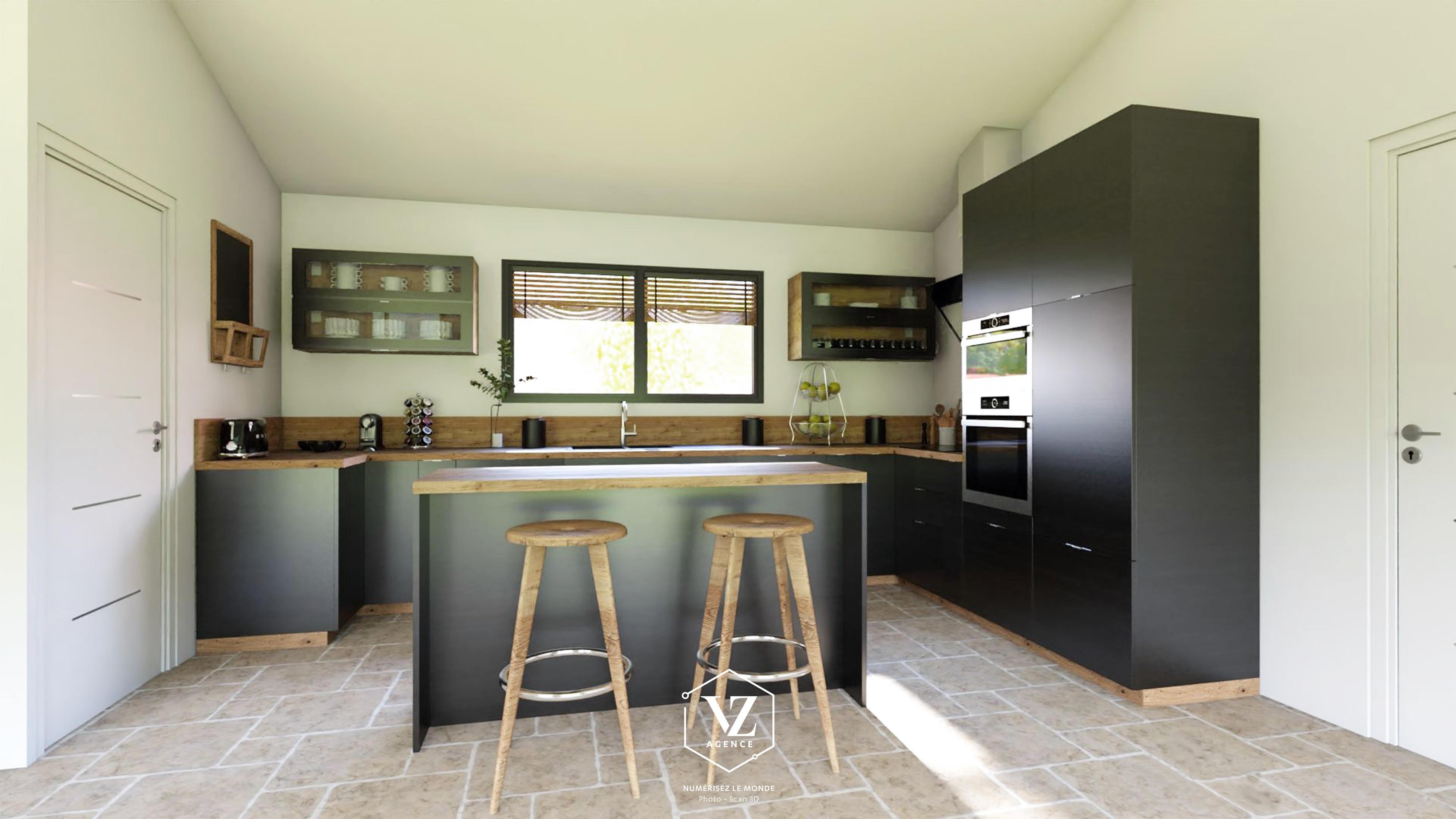 aménagement cuisine sur plan en 3D