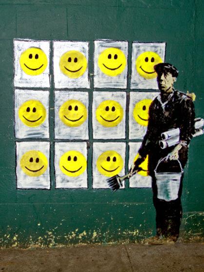 Banksy Smiley Face 3D Print 30X40cm