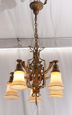 1930s Art Deco 5 Lights Chandelier