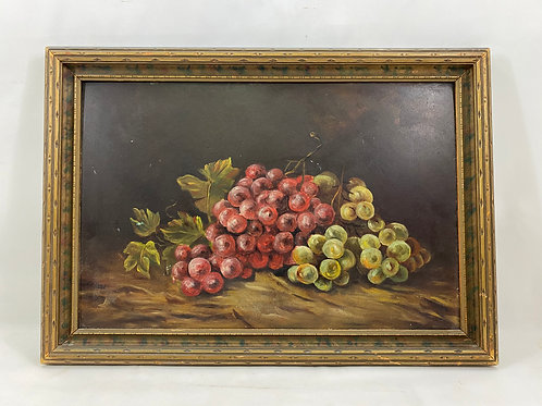 Oil Painting of Grapes on the Vine