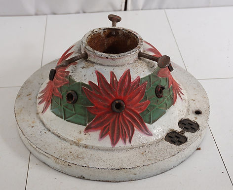 Antique Cast Iron Poinsettia Light Up Christmas Tree Stand
