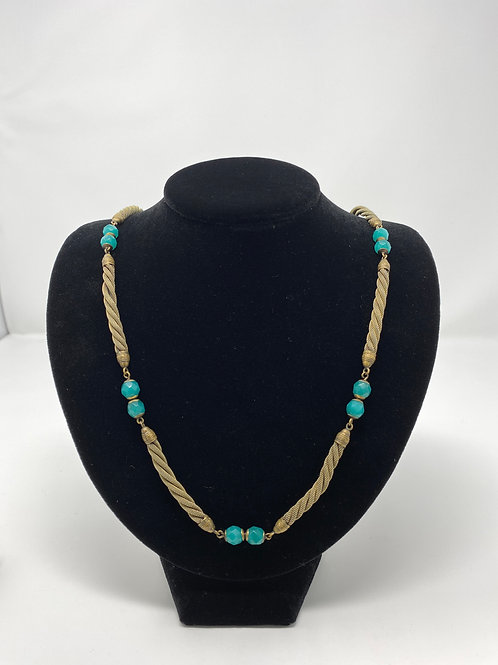 Vintage Necklace with Faceted Beads and Gold Tone Rope