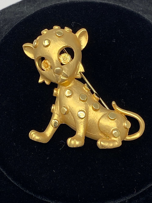 Vintage Brushed Gold Tone Cub Pin