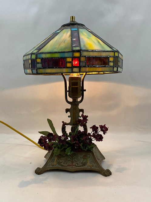 Brass Table Lamp with Stain Glass Shade