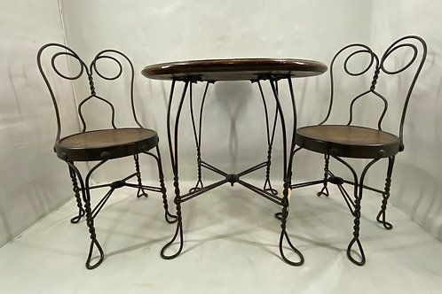 Child's Ice Cream Parlor Table and Two Chairs