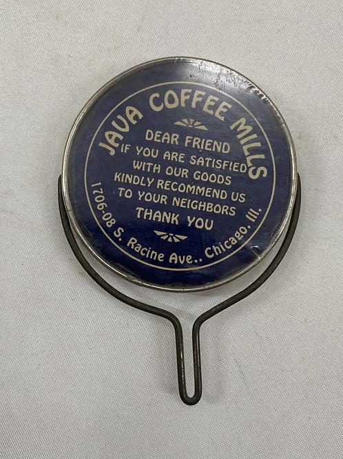 Java Coffee Mills Advertising Mirror