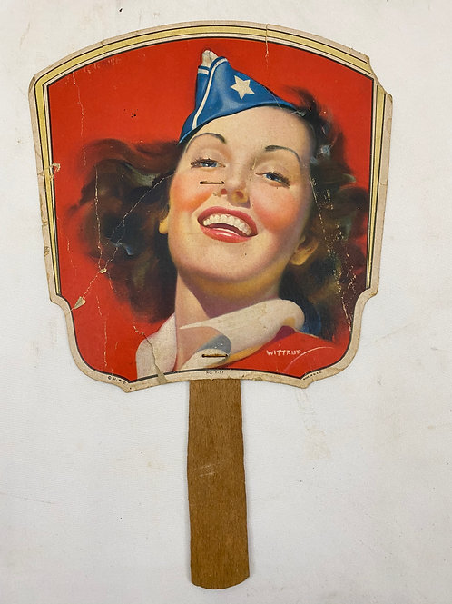 Advertising Fan 1947 Wittrup Patriotic Pin-Up Fairchild Brothers Hardware