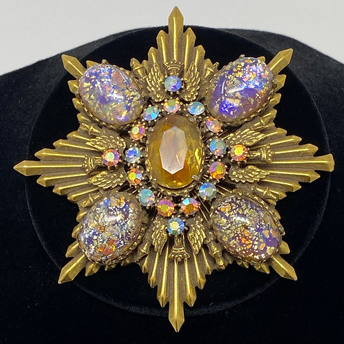 Vintage 8 Point Brass Textured Star Lucite Confetti Foil Aurora Borealis Brooch