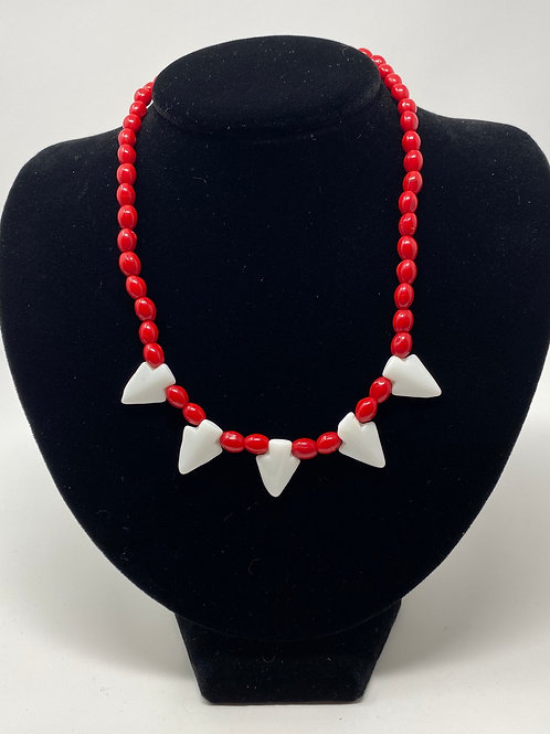 Red Glass Bead and White Arrowheads Necklace