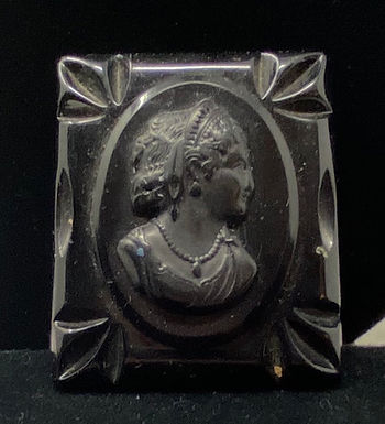 Large Black Cameo Brooch