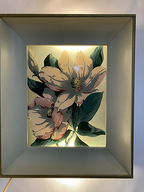 1950s George Telo Reverse Painted Floral Lighted Shadow Box