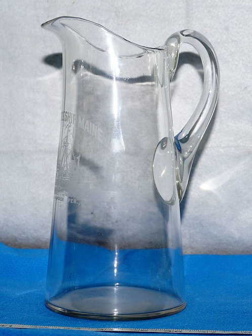 Glass Pitcher US Battleship Maine