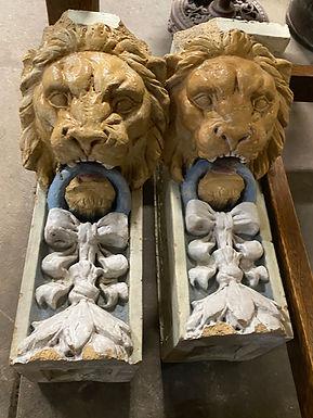 Decorative Pair Terracotta Lion Heads