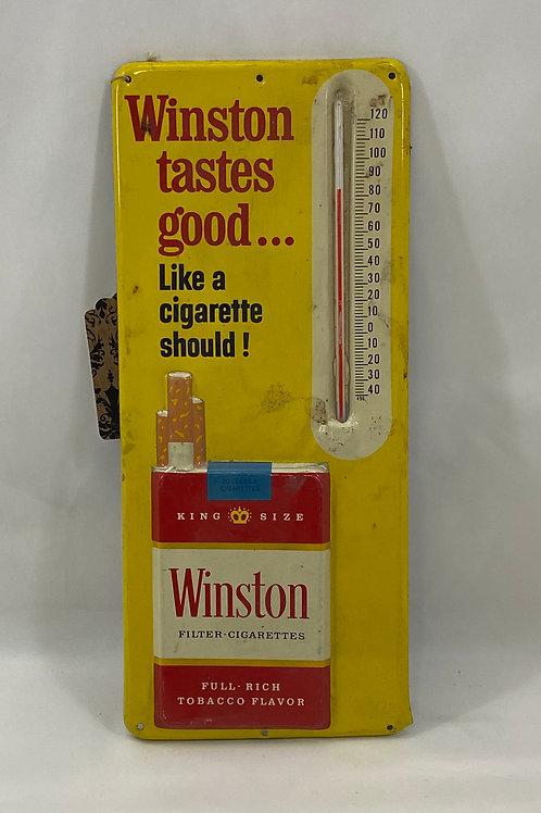 Vintage Metal Winston Tastes Good Thermometer Early 60s