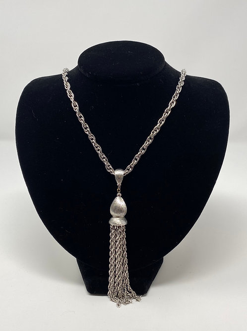 Monet Silver Tone Fringed Tassel Necklace