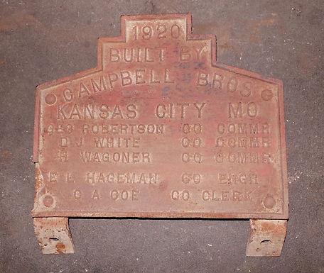 1920 Kansas City Mo Bridge Plaque