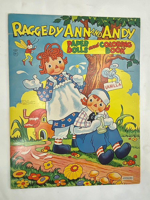 1944 Uncut Raggedy Ann and Andy Paper Dolls and Coloring Book