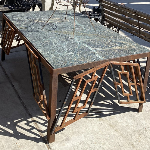 Metal Art Deco Table with Marble Top