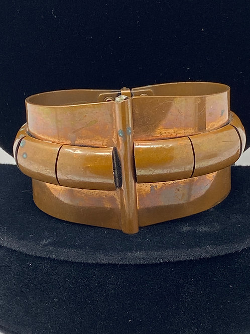 Vintage Abstract Copper Cuff Spring-Loaded Bracelet