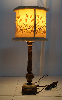 1940s Table Lamp with Flower Design Cloth Shade