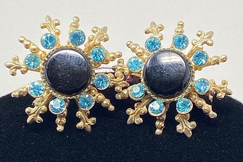 Blue Stone and Rhinestone Earrings