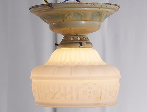 1920s Flush Mounted Light Fixture With Milk Glass Shade