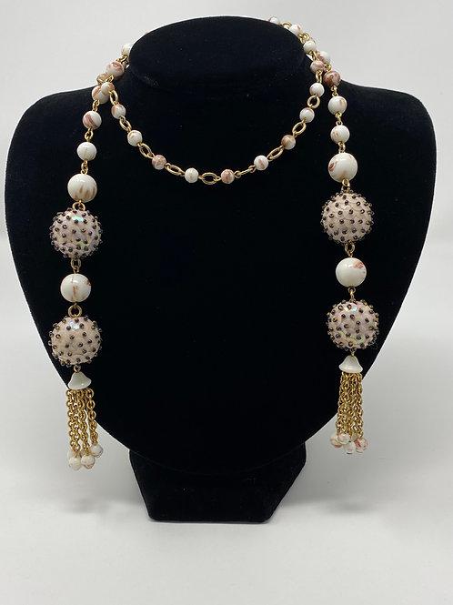 Vintage Milk Glass with Gold Sparkle Lariat Necklace