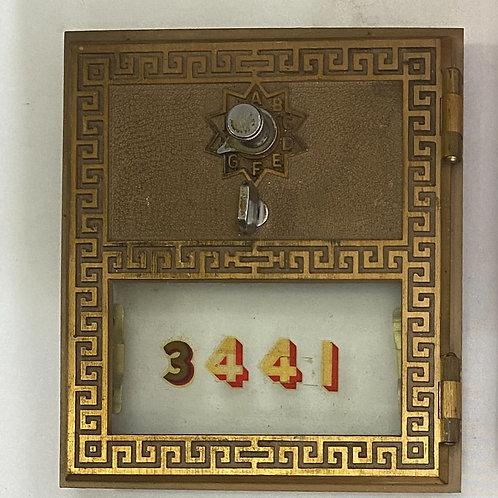 Vintage Brass PO Box Door Double Dial
