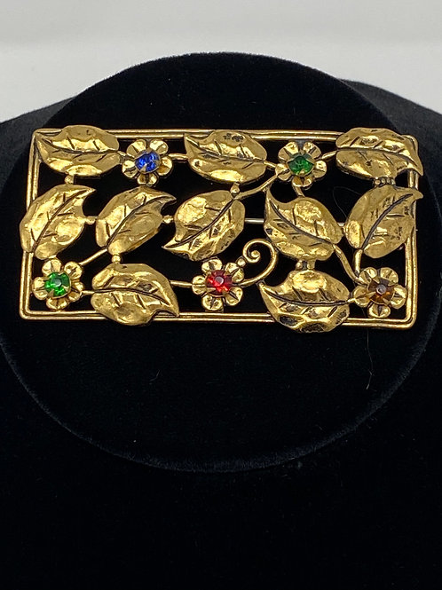 Vintage Gold Tone Metal Rectangle Brooch with Flowers and Leaves
