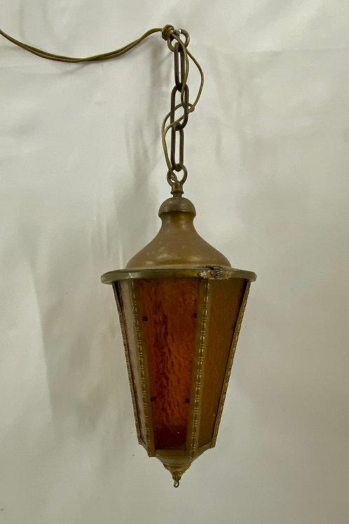 Brass Light Fixture with Amber Glass